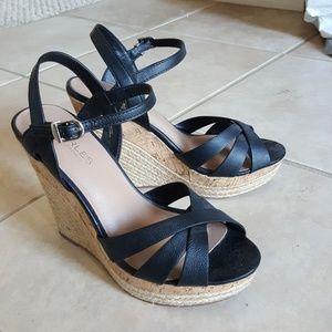 Charles David Black Wedge Sandals Size 7